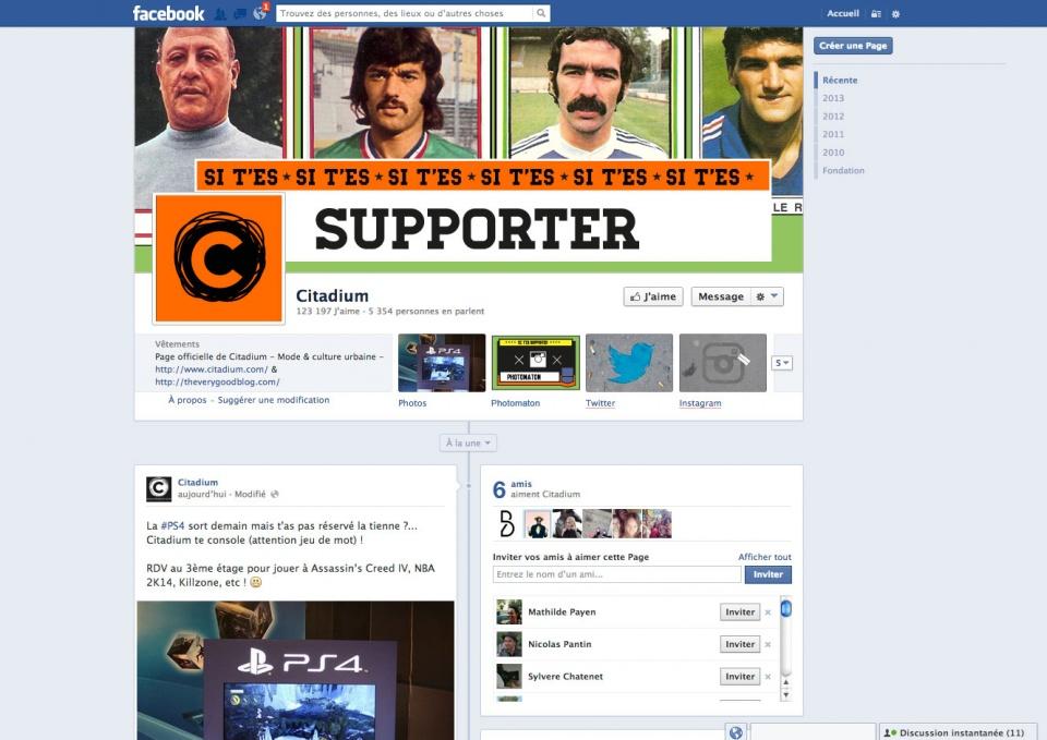 Citadium : page facebook