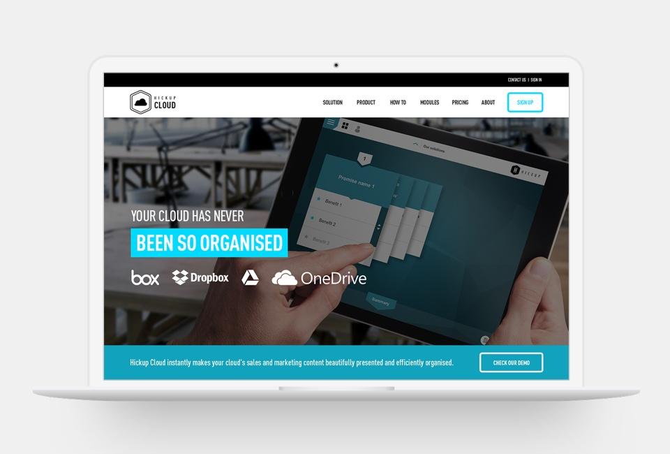 Hickup Cloud website - Homepage