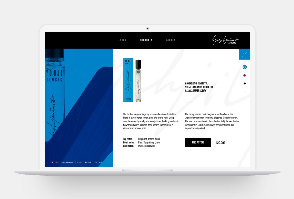 Yohji Yamamoto Parfums website - Product page A