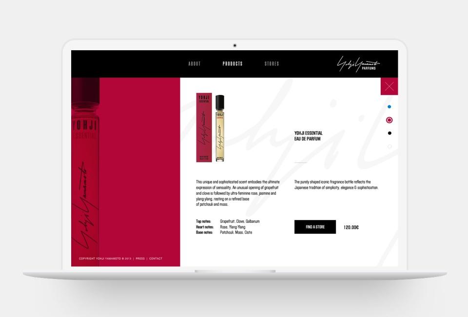 Yohji Yamamoto Parfums website - Product page B