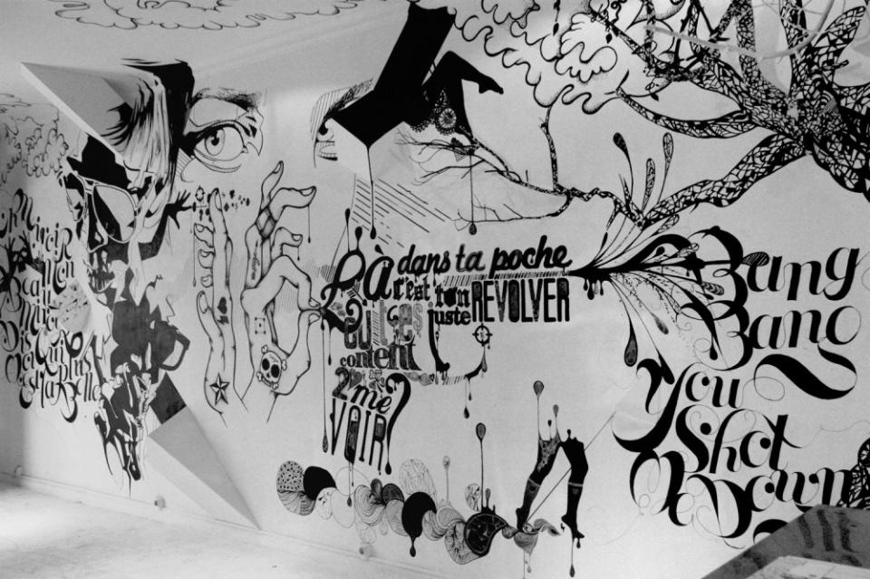 Wall painting en noir et blanc