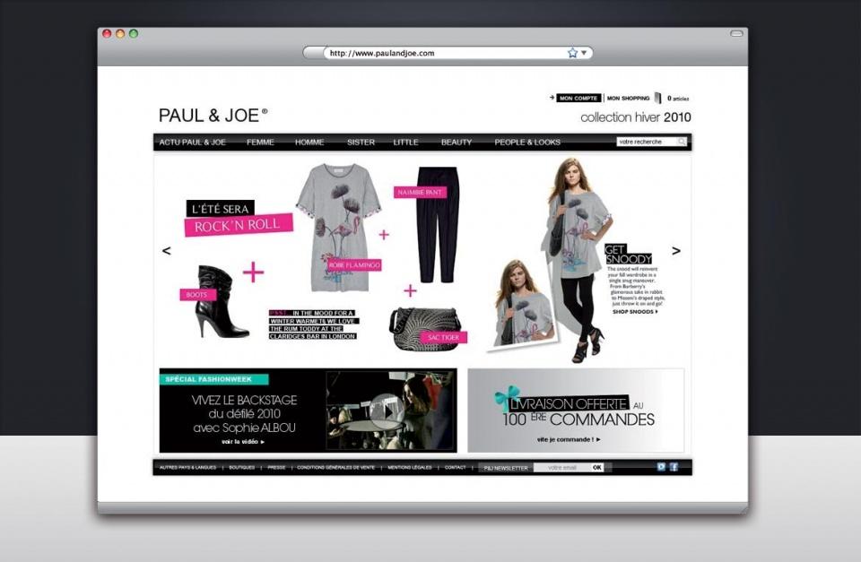 Homepage du site Paul & Joe