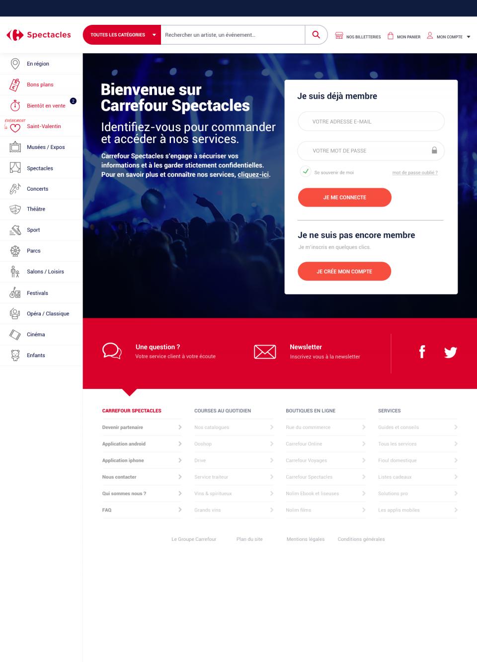 PAGE DE CONNEXION CARREFOUR SPECTACLES