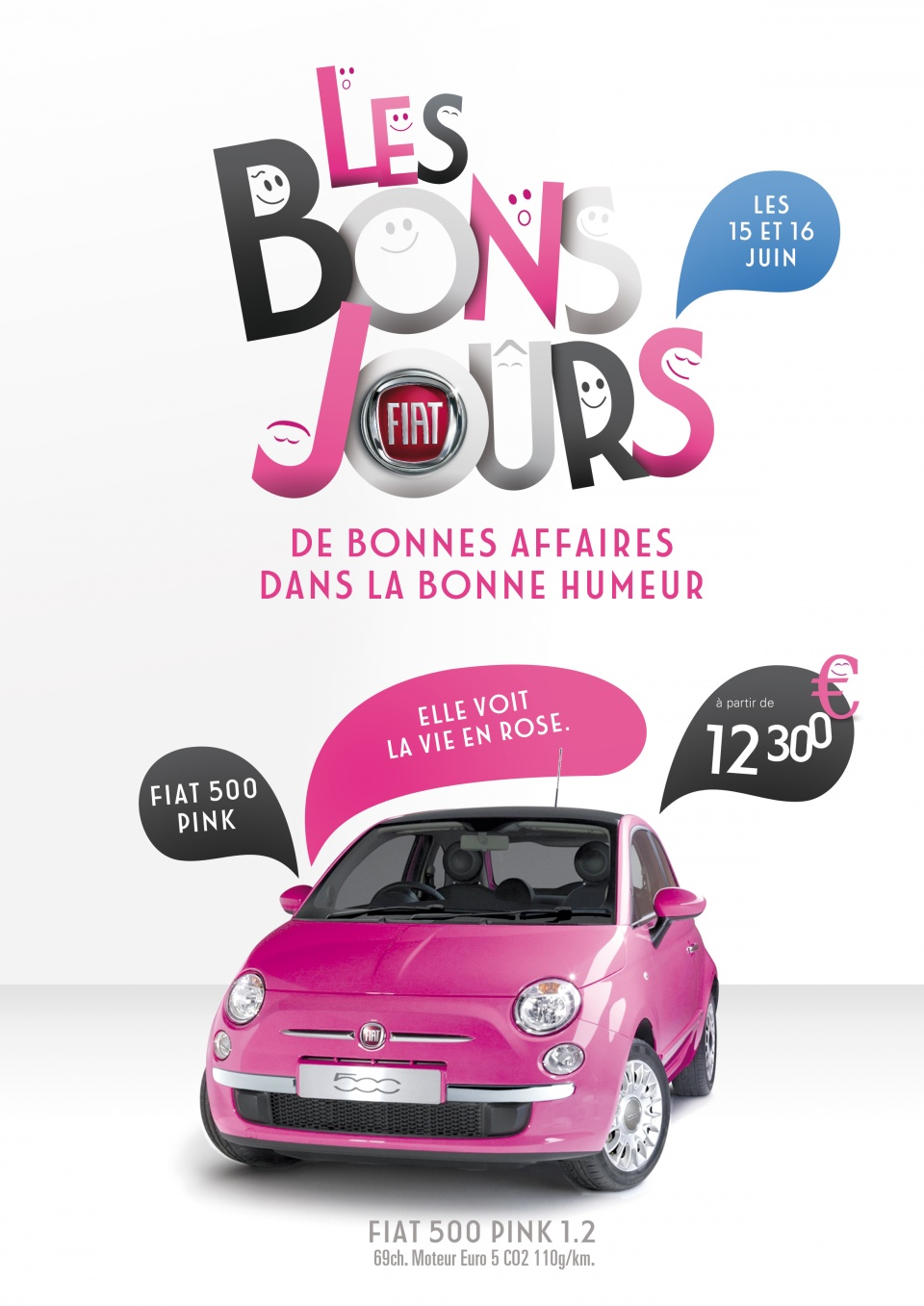 Affiche Fiat 500 Pink