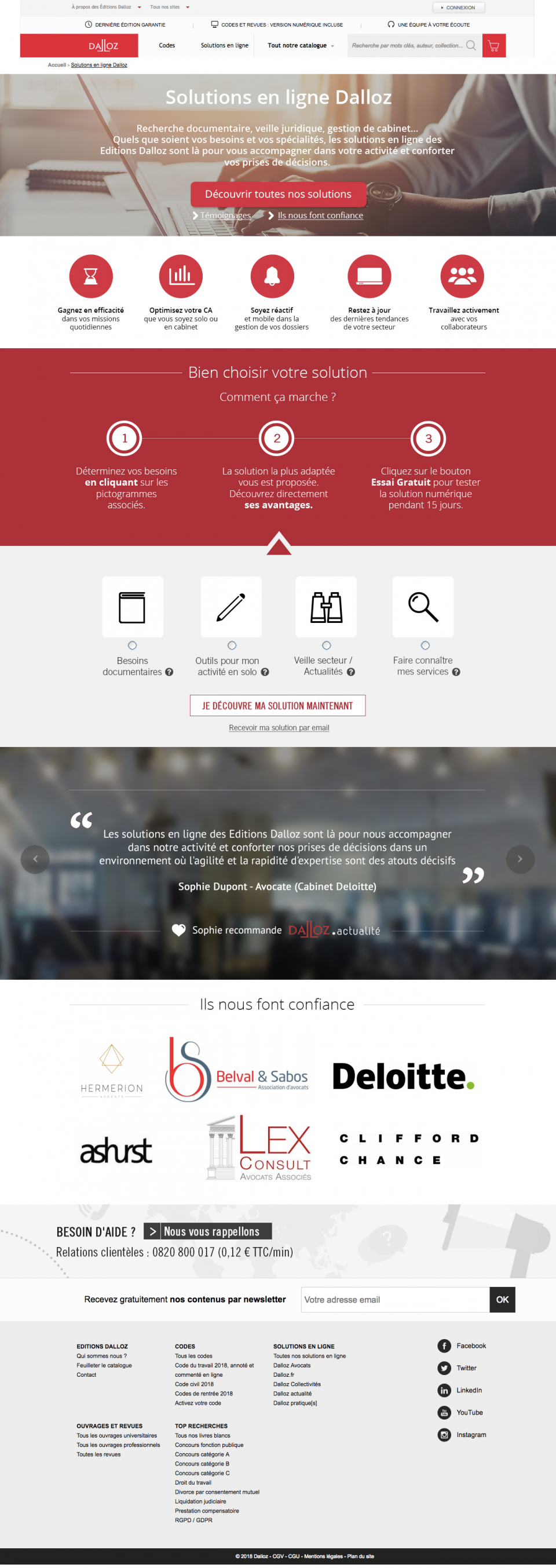 Landing page Solutions numériques