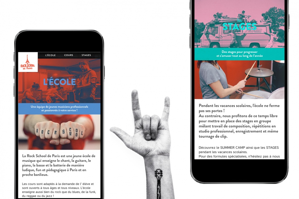 Pages Ecole et Stages Mobile