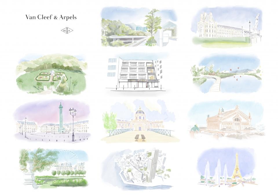 Planche cartes postales aquarelles