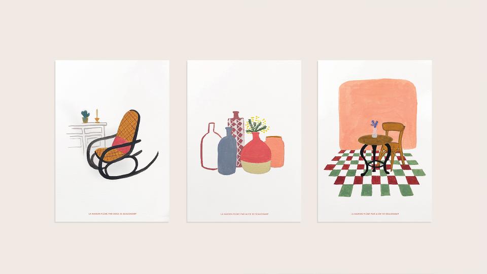 Cartes postales — Collaboration avec une illustratrice