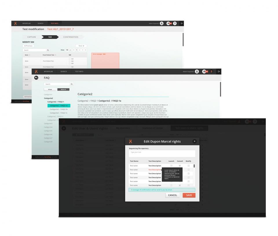 interface de logiciel d'analyse génétique