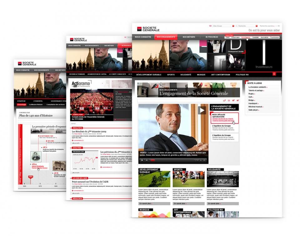 Société Générale - rubriques et pages du site internet