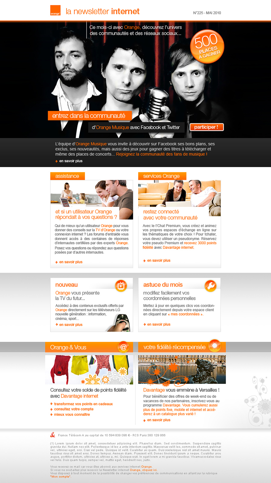 Design de la newsletter évènementielle Orange internet