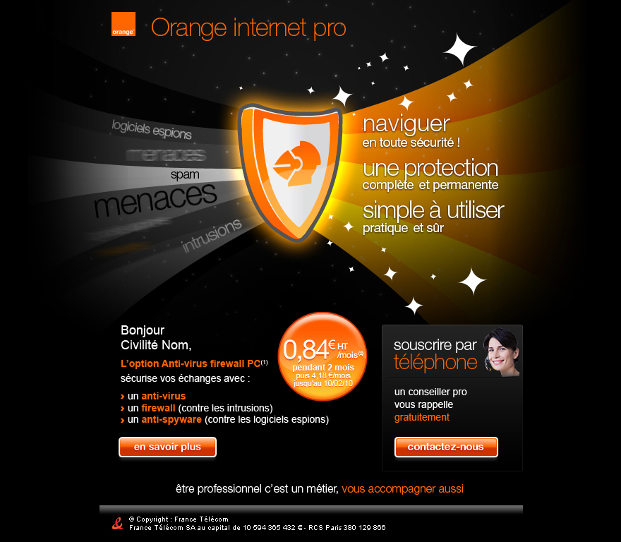 Newsletter promotionnelle Orange