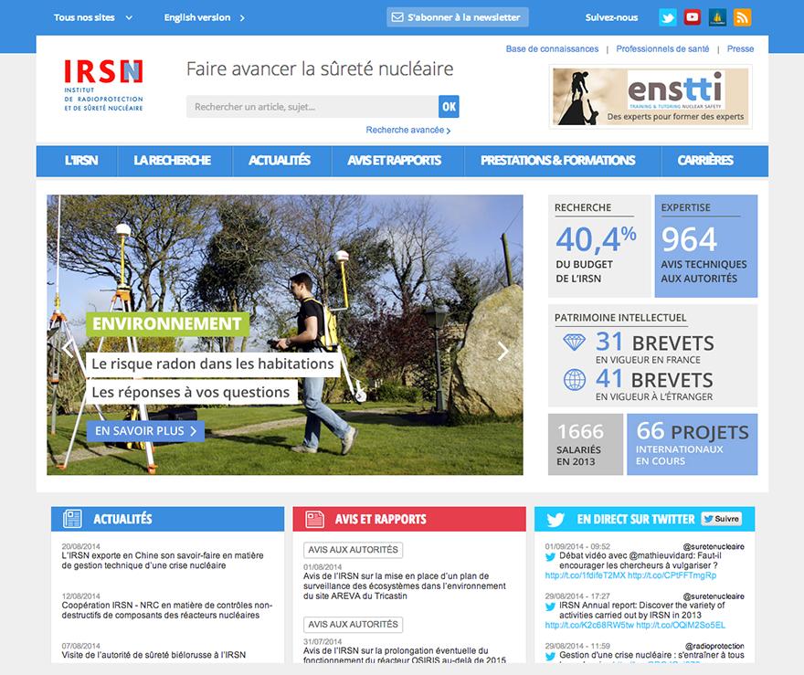 IRSN : refonte de la page d'accueil de l'institut