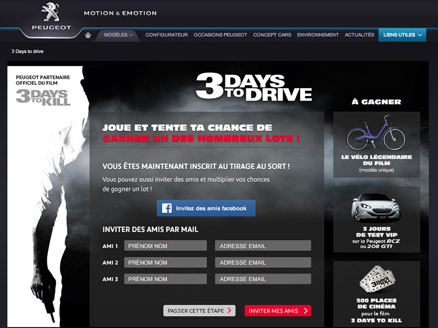 3 Days to Kill : page facebook - page concours