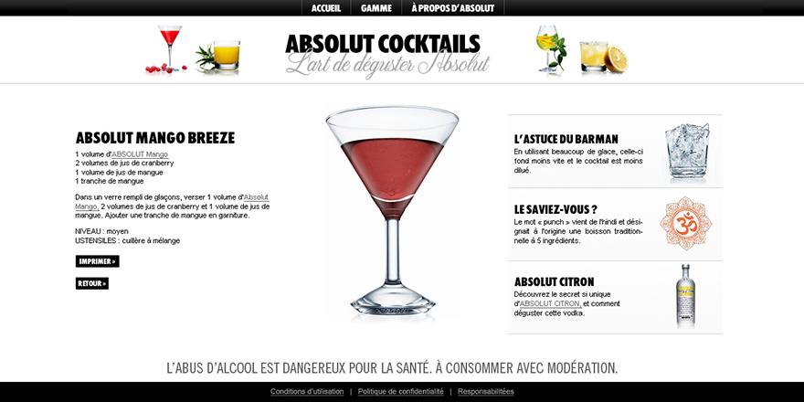Absolut Vodka : cocktails
