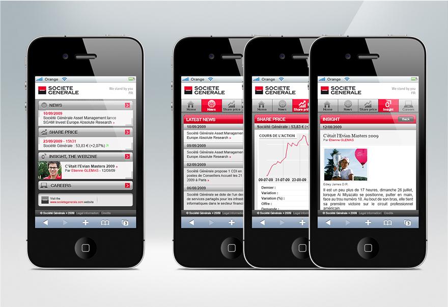 Site mobile du portail Groupe de la Société Générale