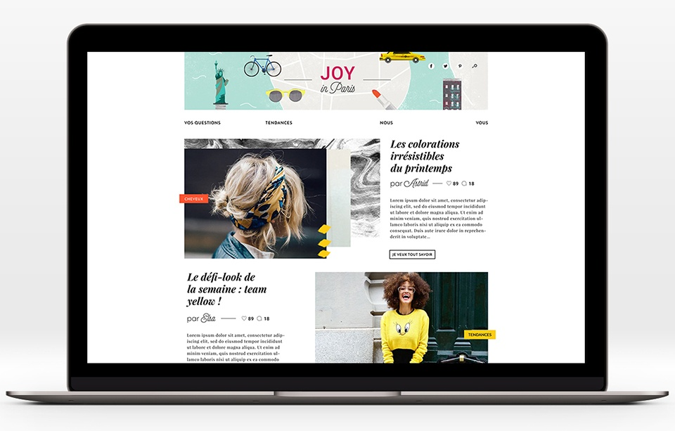 Home page avec proposition d'animation du header