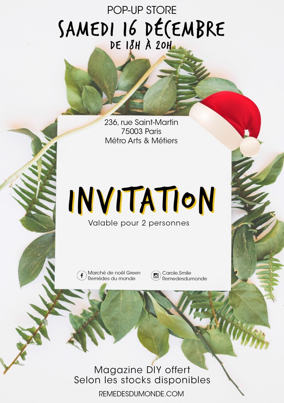 Invitation pour le marché de noël green