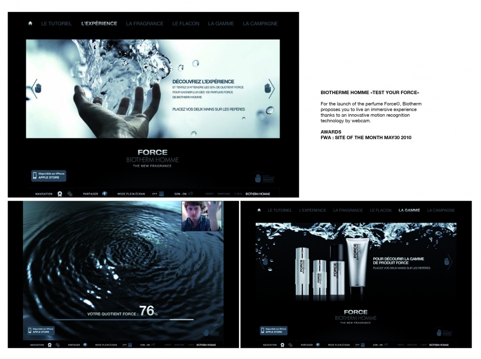 "Biotherme Homme ""Test your force"" - Site web"