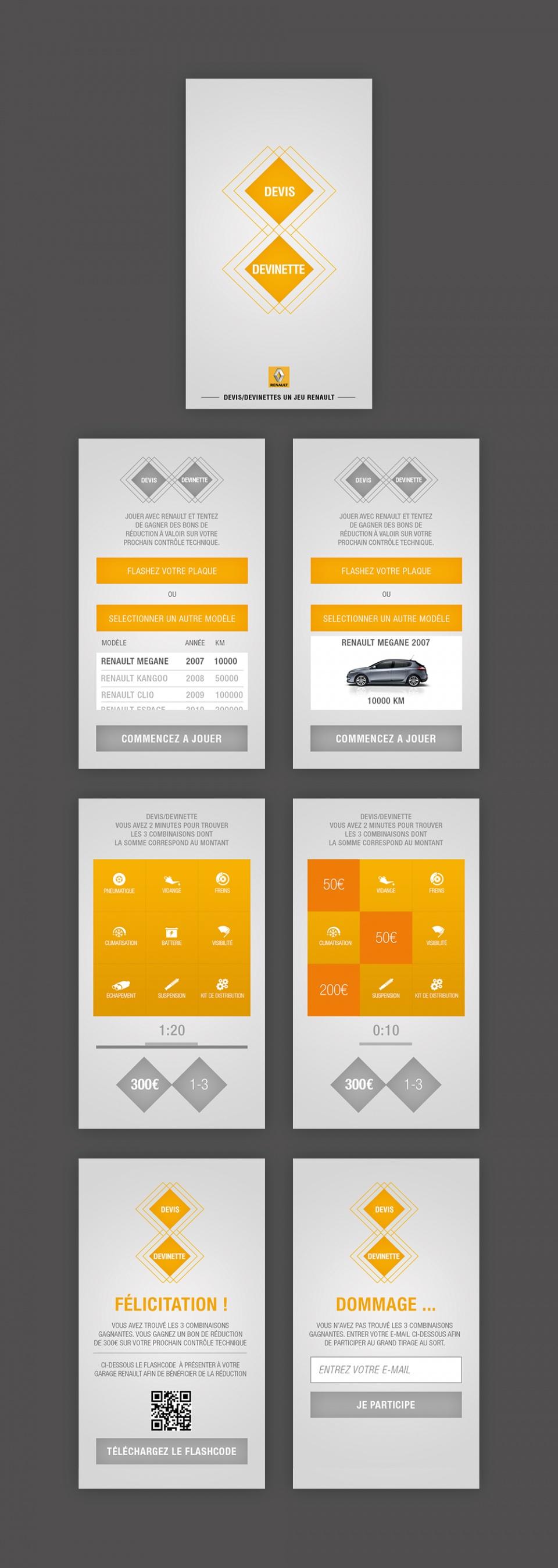Ecrans application mobile