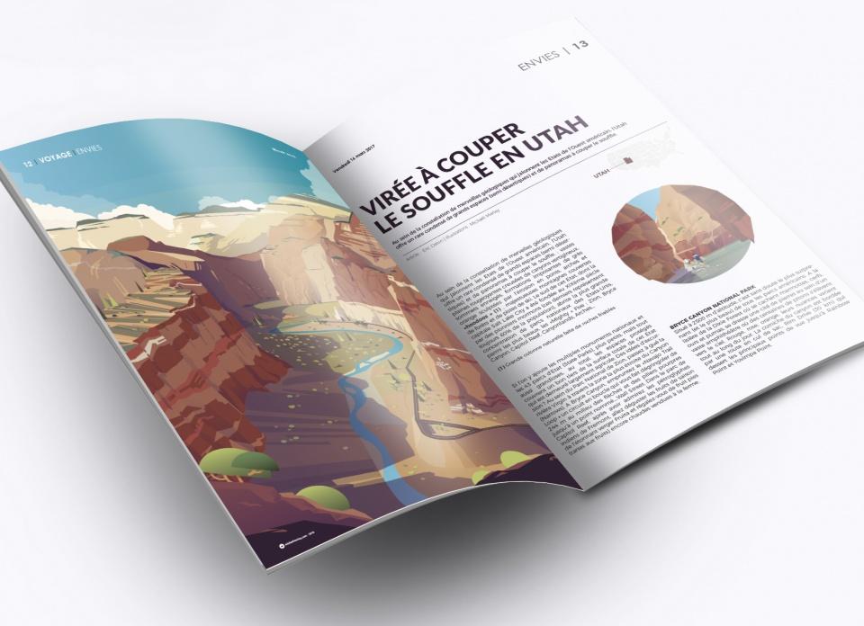 Illustrations éditoriales - Illustration pleine page + 4 petites vignettes pour un article sur les parcs nationaux de l'Utah (Parisien Weekend Magazine)