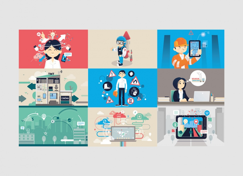 Illustrations pour le site apax-talk (100% vectoriel).