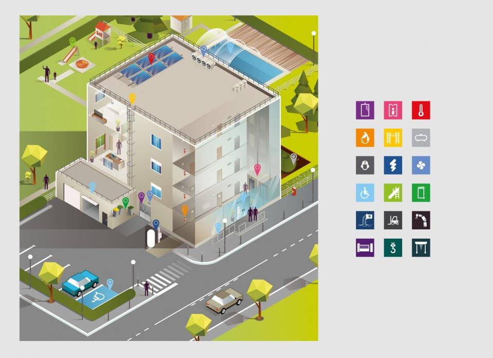 Illustration pour le Groupe Qualiconsult et ses pictogrammes - 2014