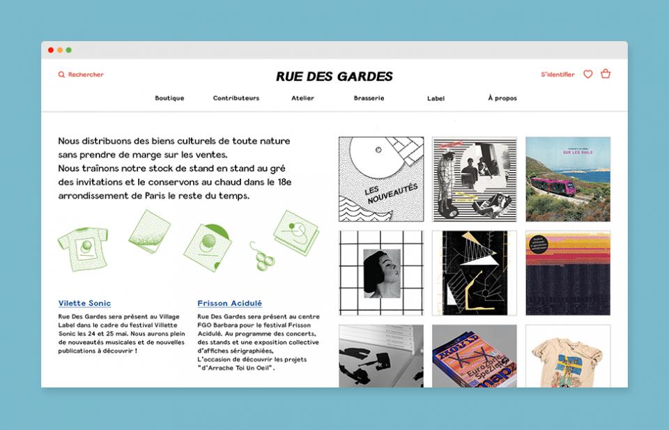 """Home de la boutique en ligne """"Rue Des Gardes"""""""