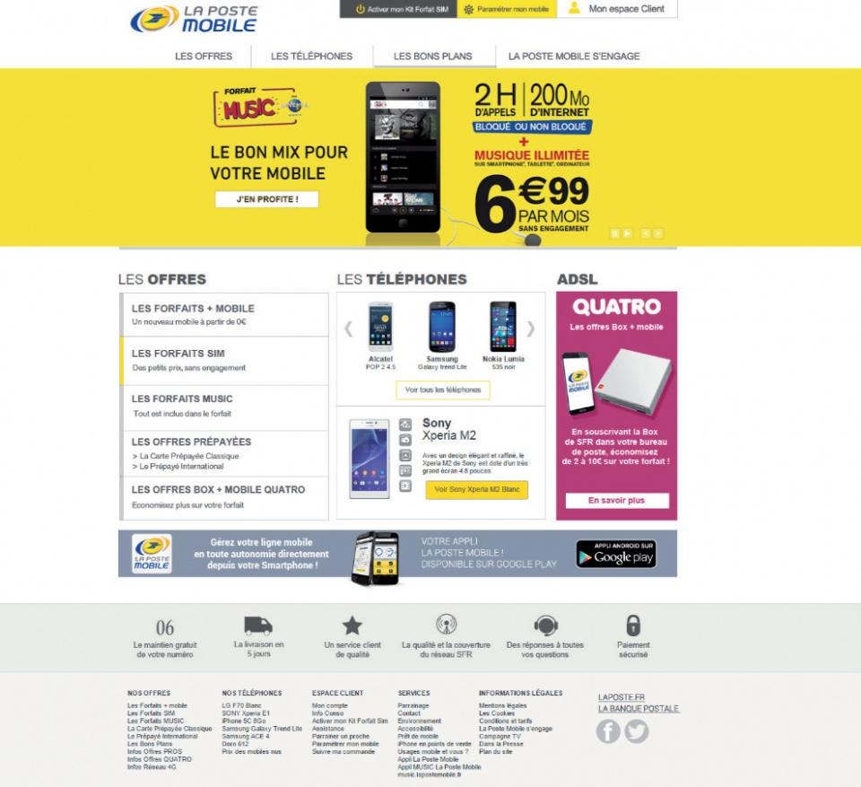 refonte de page web pour La poste mobile