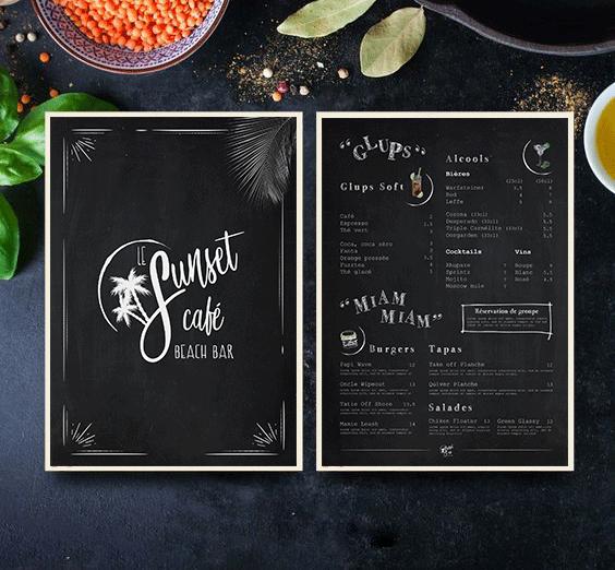 Carte des menus sunset café