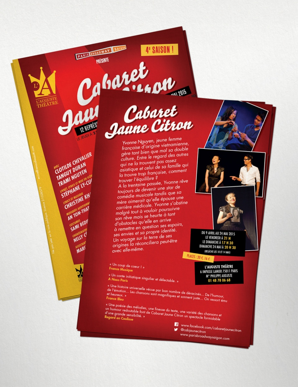 Flyer pour la promotion du spectacle musical « Cabaret Jaune Citron »
