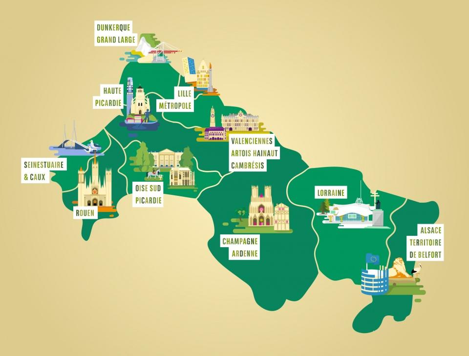 Carte illustrée du Nord-Est de la France