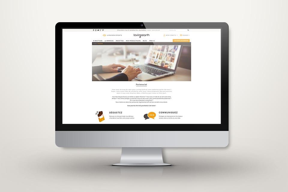 Webdesign lovingearth.fr - Page partenariat