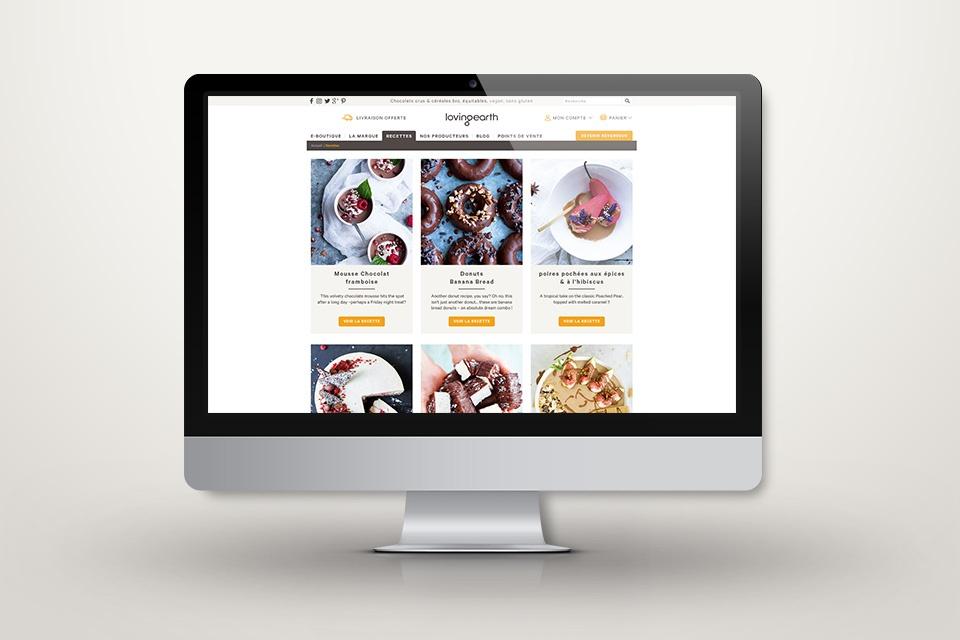 Webdesign lovingearth.fr - Page recettes