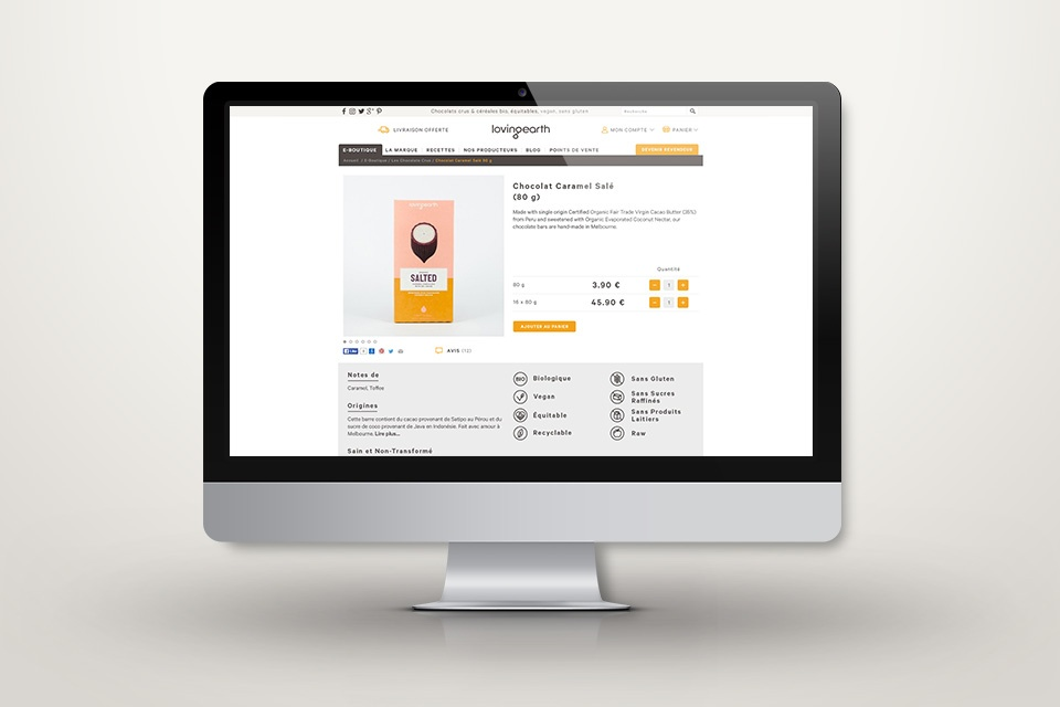 Webdesign lovingearth.fr - Page produit
