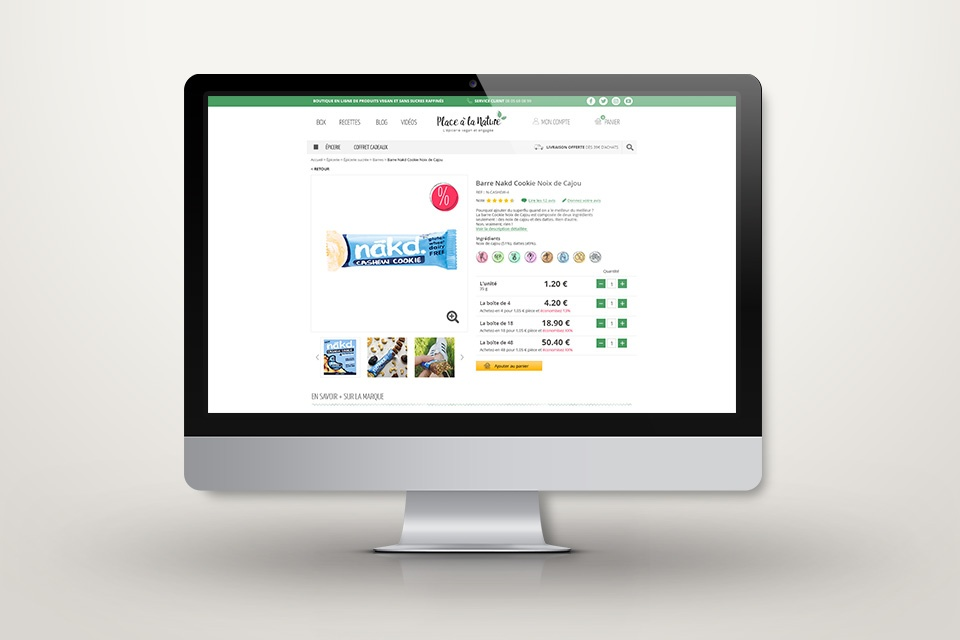 Webdesign de placealanature.com - Page produit