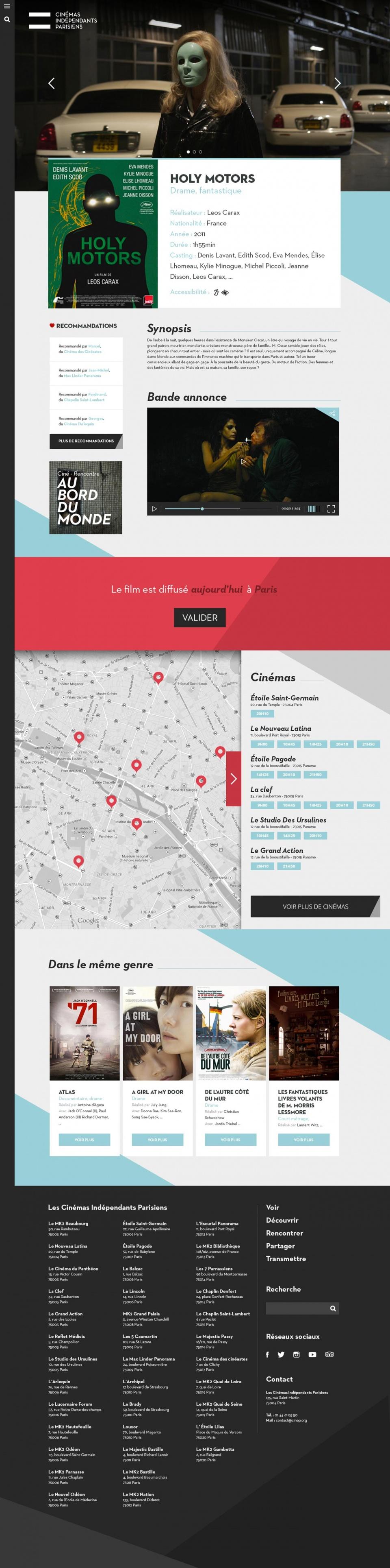 Cinémas Indépendants Parisiens • Identité et responsive design
