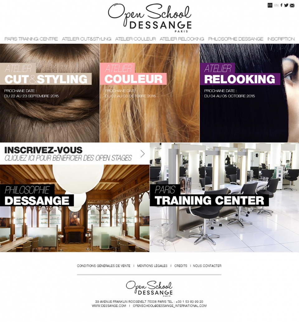 Open School • Dessange • Responsive design