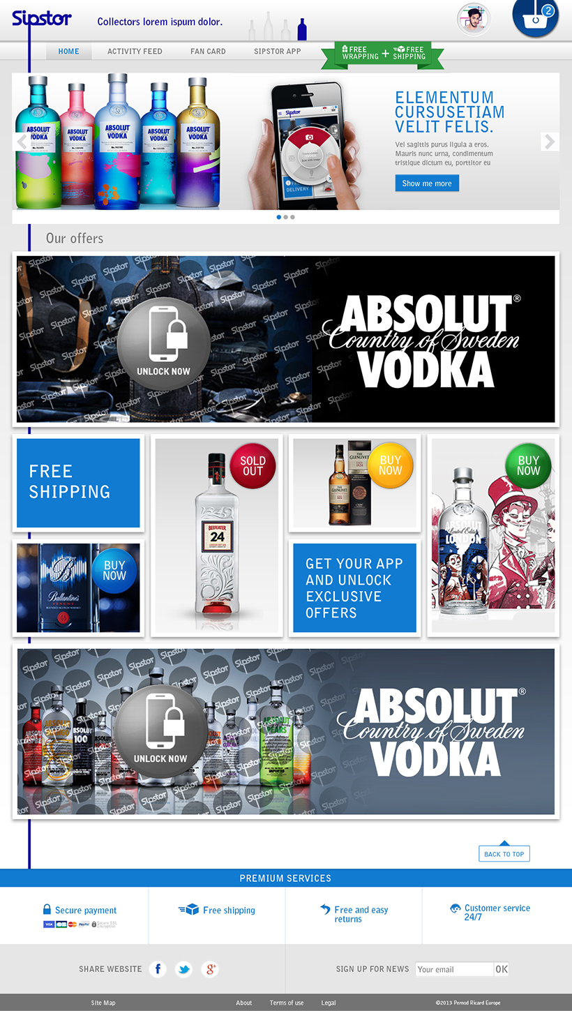 Sipstor // Pernod // Application, Site ecommerce, Site mobile // Full Responsive