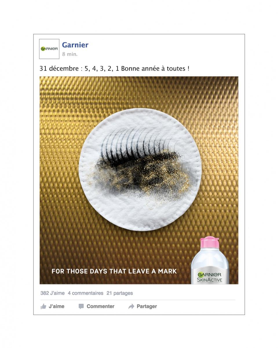 Post Facebook pour l'eau micellaire Garnier