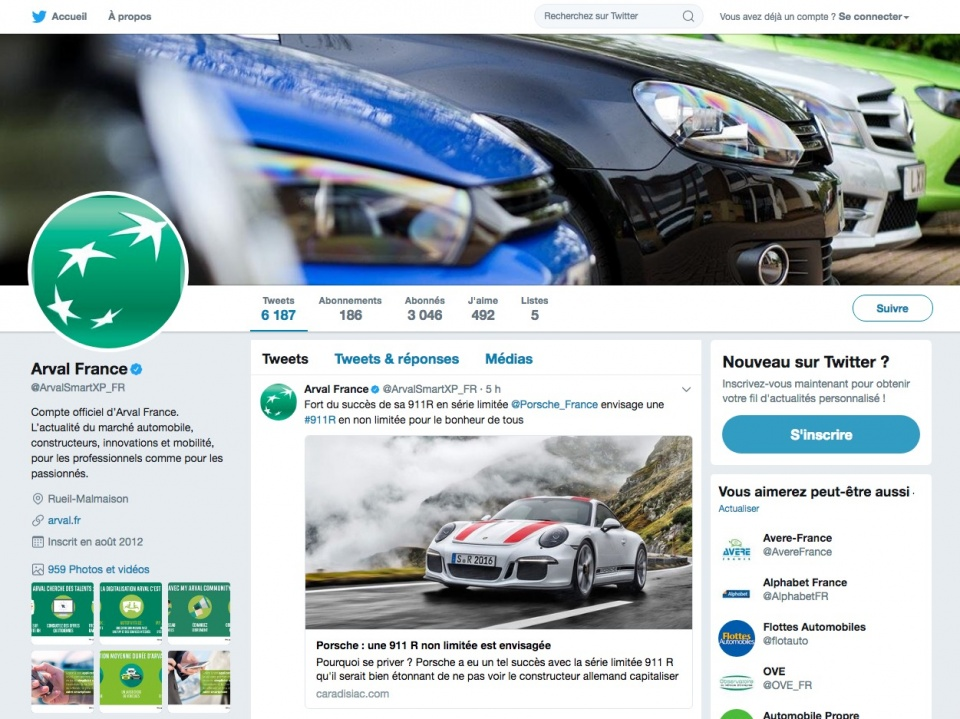 Compte Twitter Arval