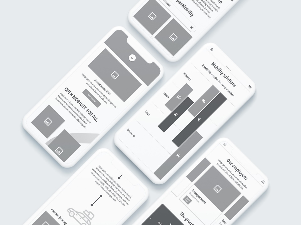 Wireframes mobile