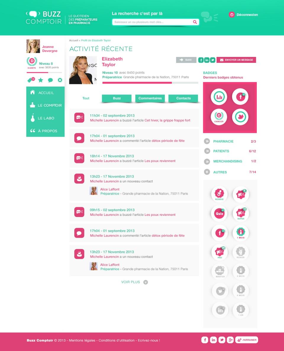 Buzz Comptoir / Page profil