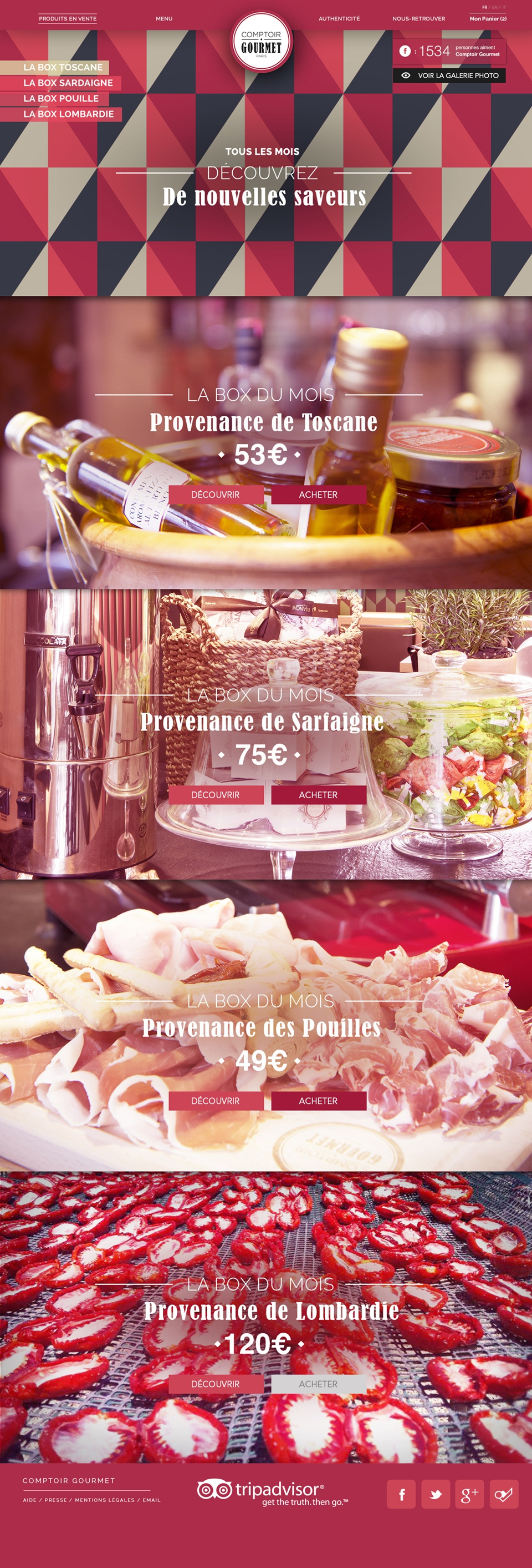 Homepage Comptoir Gourmet