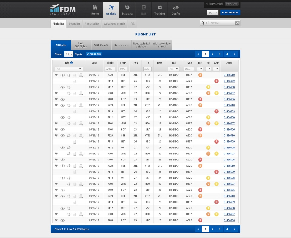 FDM : flights list