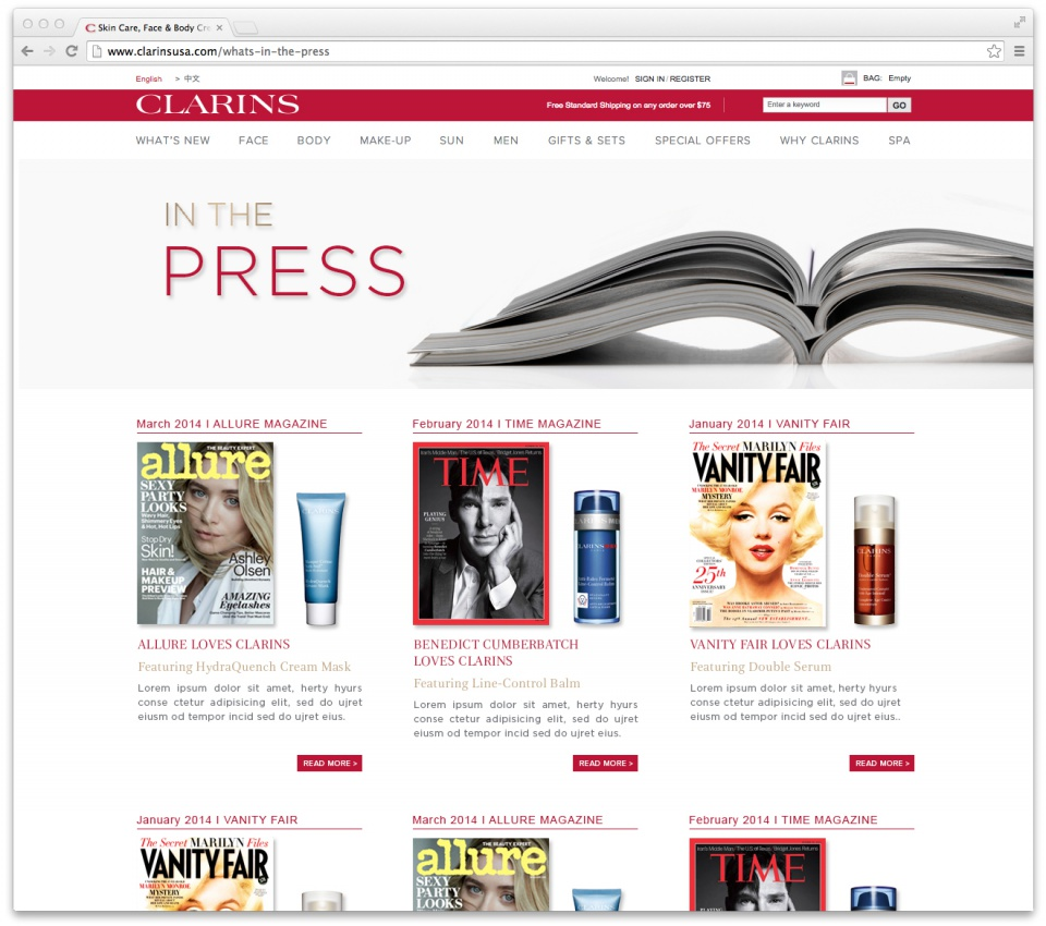 "Clarins' New Section ""What's in the press""- Landing page"