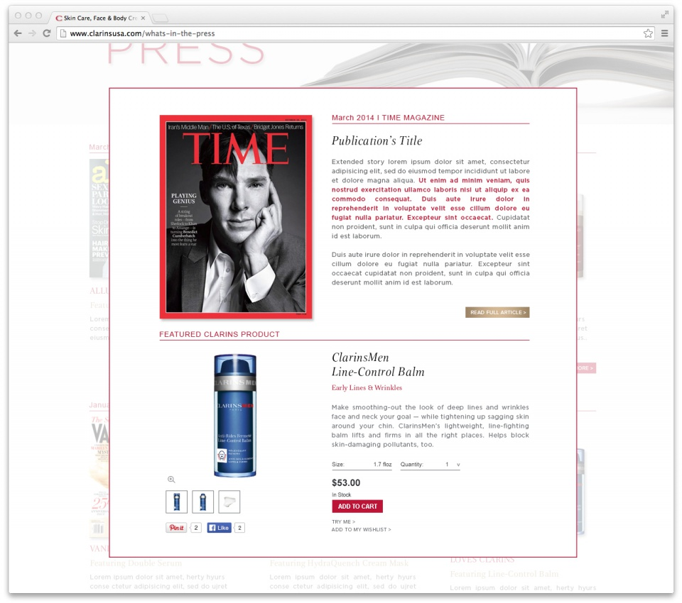 "Clarins' New Section ""What's in the press""- Article Page"